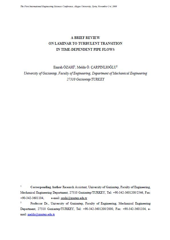 A Brief Review On Laminar To Turbulent Transition In Time-Dependent ...